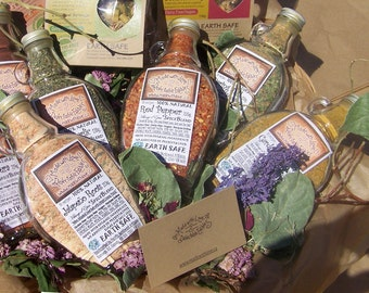 Perfectly Green Eco Wedding Gift Set - Five Artisan Spice Blends in our Signature Eco-Gift Box  Food Market Organic Herb Spice Veggie Blends