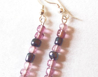 Amethyst and Indigo Earrings Glass Seed Beads, Purple and Blue Earrings  ID 149