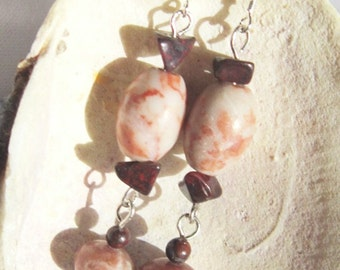 Pink and Red Earrings, Pink Rhodonite Earrings With Dangles and Red Jasper Beads  ID 198