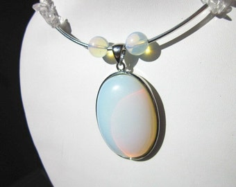 Moonstone Necklace, with Crystal and Silver on Memory Wire.  ID 217