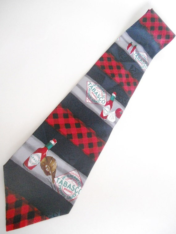 GUMBOLicious / Vintage Necktie / Tabasco / Bistro - Hot Sauce Garlic Shrimp Chili Peppers