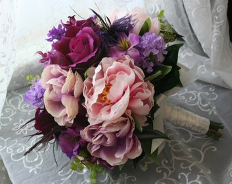 Purple Feather Bouquet & Boutonniere, Pink Purple Wedding, Roses, Orchids, Lilac, Peonies, Summer, Fall, Autumn, Rustic, Cottage, Garden