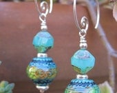 Mystery Mood Earrings - Magical Color-Changing Mirage Mood Beads, Czech Glass, Sterling Accents & Artisan-Made Sterling Silver Hoops