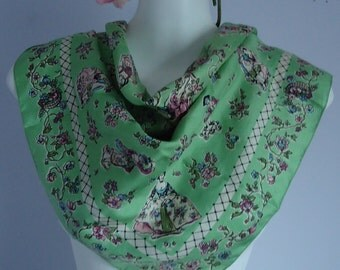 Vintage Scarf, Vintage Scacves, Silk Scarf, 60s Scarf, 1960s Liberty of London, Liberty of London, Green Silk Scarf, Vintage