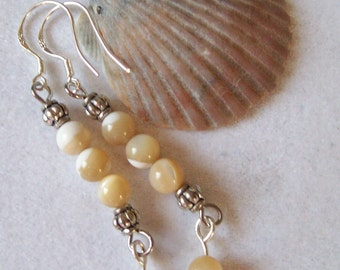Shell Bead Earrings with Silver Beads and Shell Bead Dangles  ID 159