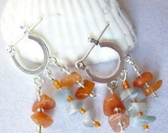 Red Adventurine Earrings with Fire Opals on Triple Loop Hoops  ID 211