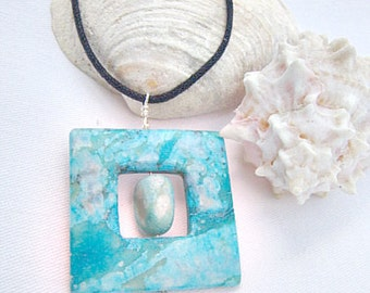 Turquoise Leather Necklace, Turquoise Men's Necklace  ID 248