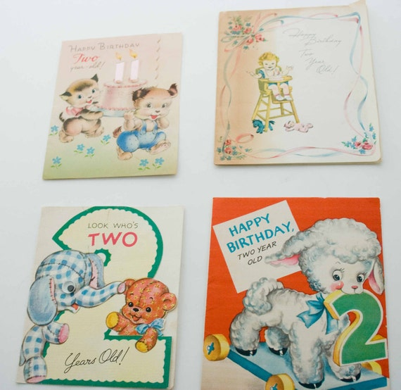 "Collection of Four Birthday Cards for a ""Two  Year Old"""