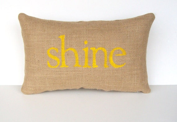 yellow pillow, yellow nursery decor, shine pillow, yellow accent pillow, yellow home decor, inspirational gift under 40 by whimsysweetwhimsy