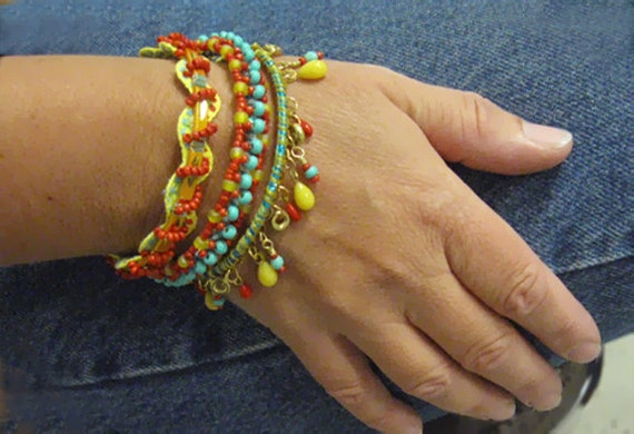 Embellished bangles, bracelets, set of three, Gypsy, Hippie, BOHO, Bohemian, unique jewelry, beaded, red, turquoise, yellow