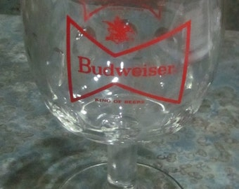 Budweiser Beer Footed Goblet 1970 Era Qty of 2