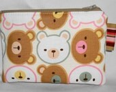 Kawaii Padded Zippered Pouch --- Teddy Bears on Pink