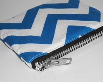Xtra Large Padded Zippy Pouch / Trendy Chevron Stripes Cosmetic Case / Ultramarine Blue Zig Zag Clutch Purse - Other Colors Available