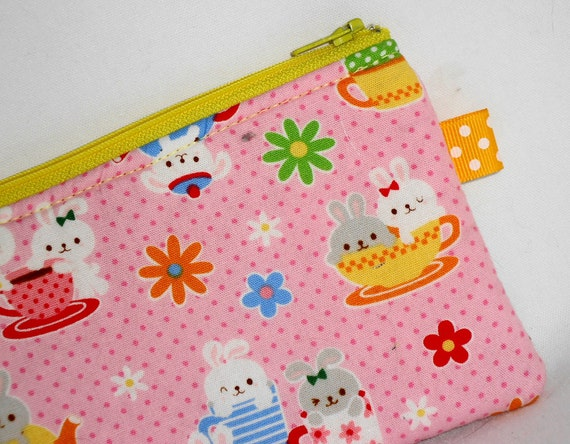 Medium Padded  Zippered Pouch Kawaii Teacup Bunnies --- Pink (Camera / IPod / Cell Phone Case)