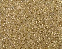 50g Gold Silver Lined Glass Seed Beads Size 11/0
