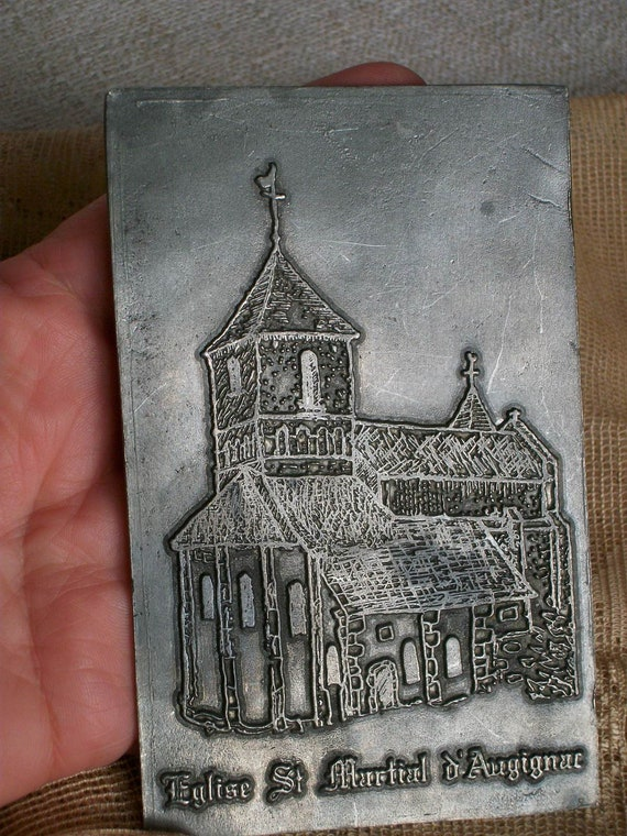 Vintage French Pewter Plaque Perigord Dordogne France St Martial Church