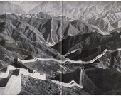 Great Wall China Vintage Black & White Photo Architecture Illustration To Frame 1930s