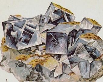Fluorite & Fluor-spar Crystal Stone Mineral Vintage Lithograph Edwardian Geology Print To Frame 9
