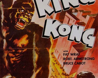 King Kong 1930s Sci Fi Horror Movie Poster Full Color Advertisement Lithograph To Frame Science Fiction