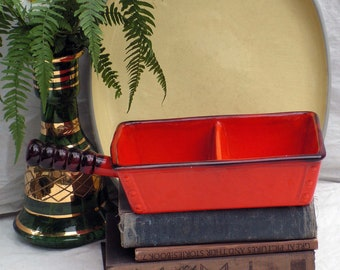 Vintage Poppy Red Divided Serving Dish Retro Kitchen Ware 1970s