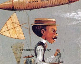 Santos Dumont Flying Machine Vanity Fair 1915 Early Flight Vintage Color Lithograph Poster To Frame