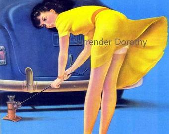 Brunette Bombshell Upskirt Vintage Pinup Girl Poster Print To Frame Mid Century Cheesecake 1950s By Art Frahm
