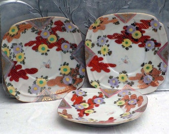 Handpainted Nippon Saucers Chrysanthemum Butterfly Vintage Serving Dishes Made In Japan WW2 Vintage Party Ware