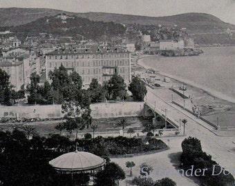 Nice France Seaside View 1890 Vintage Rotogravure Black & White Victorian Photo Illustration To Frame