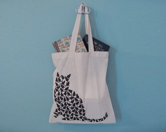 Cat Tote Bag, Reusable Grocery, Canvas