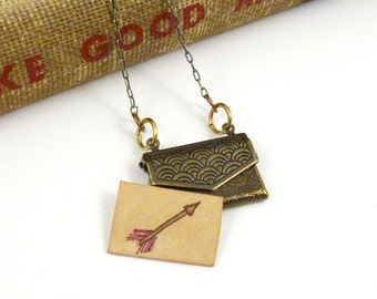 Love Letter Envelope Locket With Miniature Arrow Drawing