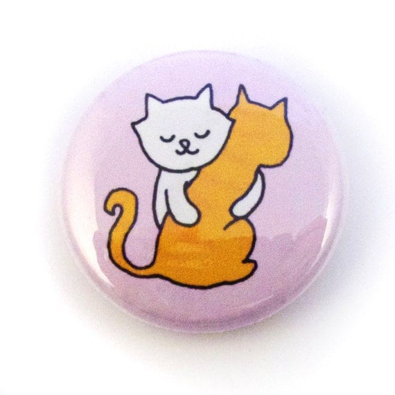 Kitty Hugs One Inch Button