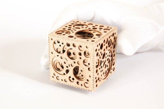 Nested Holey Cube in Red Oak