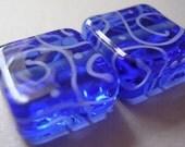Lampwork Glass Blue Beads Handmade Sky Blue Tiles Ericabeads (2)