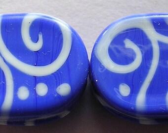 Lampwork Glass Blue Beads Handmade Lapis Blue Oval Tabs Ericabeads (2)