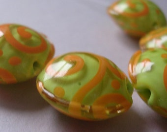 Glass Handmade Lime Coral Lampwork Beads Ericabeads Lime and Coral Lentils (5)