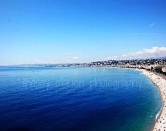 Ocean Photography: French Riviera Print 8x10, Beach Photography, Nice France, Beach Art, Beach Prints, Beach Photo, Ocean Photo, Beach Print
