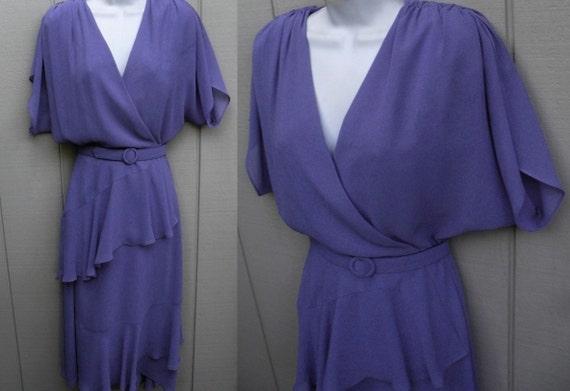 Vintage 70s does 40s Perwinkle Blue Sheer fLuTTer BoHo DiSCo DreSs size Med