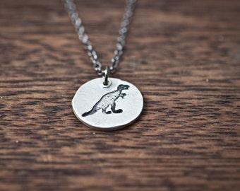 dinosaur necklace - trex necklace - t rex necklace - dino necklace - dinosaur pendant - dinosaur charm - silver dinosaur - sterling silver