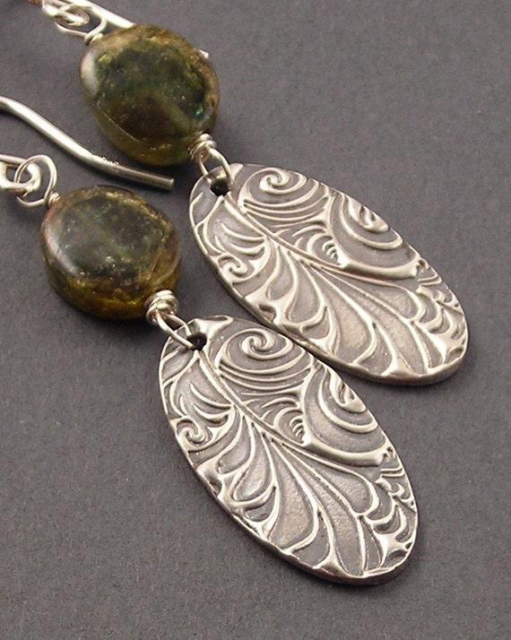 SALE Deep in the Forest, Green Tourmaline Slices, Fine Silver, Sterling Silver Earrings, erinelizabeth