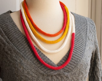 Knit Necklace - Cord Necklace - Rothko Color Block Cord Necklace - Toddler Friendly Jewelry - I-cord Knit - Long Loop - Yarn - Modern Art
