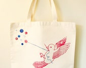 Screen printed tote - The Button Collecting Bird Tote Bag (blue white and red)