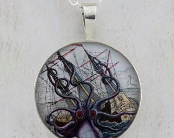 Colossal Octopus Kracken Sterling Silver Pendant tartx