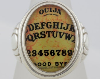 Ouija Board gothic macabre sterling silver ring (Sizes 5-10 w/ half sizes)