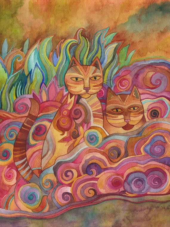 Cats in the Garden Original watercolor by Megan Noel