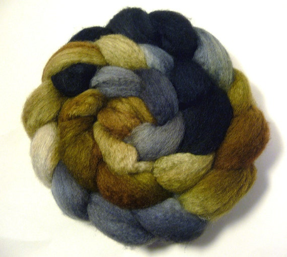 Handdyed Mixed BFL Wool/Tussah Silk Roving - Rare Earth - brown, black, gray, grey, tan