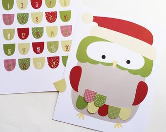Little Owls at Christmas - Printable Advent Calendar Activity