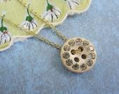 Vintage Button Necklace - Cream Rhinestone