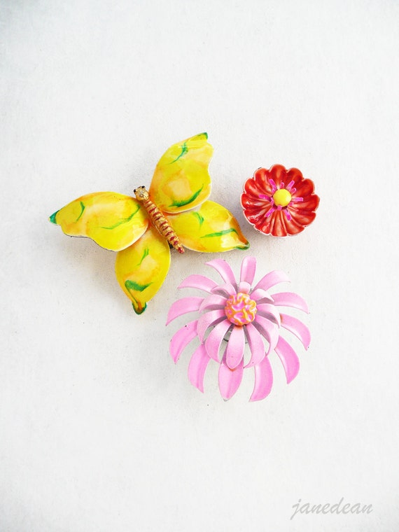 3 Butterfly Flower Fridge Magnets - upcycled vintage jewelry