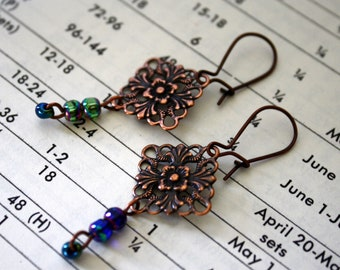Darla antiqued copper filigree and blue bead earrings sale