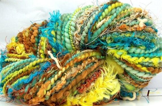 HandSpun Art Yarn merino wool Summer's End 71 yards Last Skein